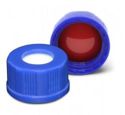 Tampa de PP, tipo ROSCA, para vial 9mm, septo PTFE/Silicone