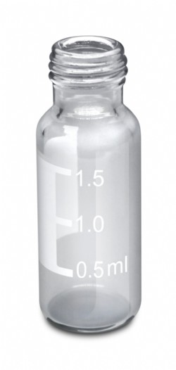 Vial borosilicato, volume 2mL, ROSCA, 9mm, transparente, com tarja