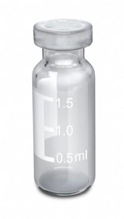Vial crimp, 11mm, transparente, com tarja, volume 2mL