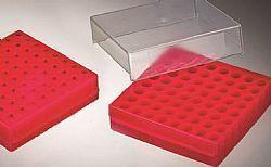 Rack com 64 posições vermelho com tampa