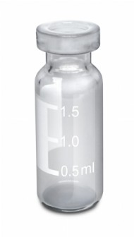Vial crimp, 11mm, transparente, com tarja, volume 2mL